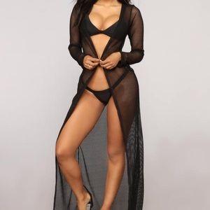 Fashion Nova Black long sleeve sexy swim coverup